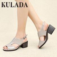Elbise Ayakkabı Kulada Peep Toe Sandalet Kadınlar Moda Kare Med Topuklu Yaz Yumuşak Deri Rahat En Kaliteli Shoes1