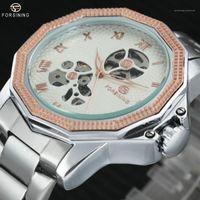 톱 럭셔리 시계 남자를위한 브랜드 스테인레스 스틸 스트랩 로마 번호 해골 다이얼 자동 기계 손목 시계 1