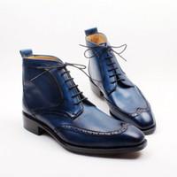 뜨거운 판매 - 남자 부츠 맞춤형 수제 신발 발가락 레이스 업 손으로 그린 통기성 컬러 블루 패션 부츠