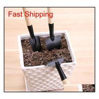 3pcs / set mini outil de jardinage portable poignée en bois tête en métal pelle ratisse rake bonsai outils f qylxud paquet2010