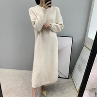 8- 3019 autumn long sleeve knitting wool dress solid color dr...