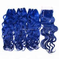 bleu vif de couleur humaine Extensions de cheveux avec Top fermeture 4x4 vague eau cheveux 3 Bundles avec lacets de fermeture