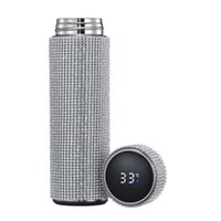 Fashionable diamond thermos water bottle stainless steel sma...