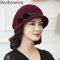 Beckyruiwu anne hediye lady sonbahar ve kış moda yün cloche şapkalar kadın parti resmi üst sınıf 100% yün keçe şapka kap y200102