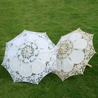 Boda de encaje paraguas algodón bordado nupcial blanco beige parasol sol para la decoración fotografía