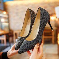 Dress Shoes 2021 argento punteggiato tacchi alti paillettes sfumato colore tacco fine mid singolo femmina dorato damigella d'oro banchetto
