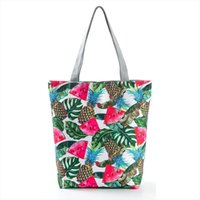 Fruit Printting Tote Handbag Women Summer Beach Bag Canvas S...