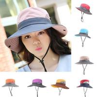 UPF 50+ 태양 모자 양동이 여름 남성 여성 낚시 보노니 브림 자외선 넓은 모자 보호 태양 야외 하이킹 큰 긴 밥 G2P91