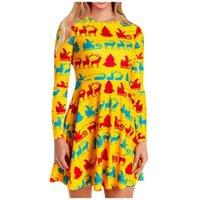 Robe imprimée de Noël Femme Costumes Fashion Automne et hiver Home Habille Décontracté Halloween Party Pullover Vêtements # 3