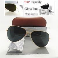 فاخر الجودة زجاج عدسة طيار الكلاسيكية النظارات الشمسية الرجال النساء مصمم العلامة التجارية الظل للجنسين UV400 مرآة 58MM 62MM نظارات شمسية براون حالة صندوق
