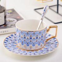 Clásicos de China de hueso tazas de café con platillos Vajilla taza de café con la cuchara Set de té de la tarde Conjunto cocina del hogar