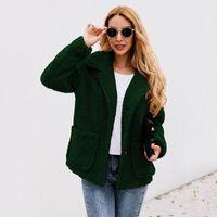 Faux capa de las mujeres 2020 otoño invierno gruesa de piel caliente del botón de solapa de la chaqueta suave Casual bolsillo de manga larga de lana de cachemira Warm Coat W2