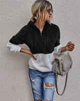 المرأة كم طويل بلايز جولة الرقبة المرقعة هوديس الراحة بالاضافة الى حجم قميص من النوع الثقيل كم طويل زيبر شيربا الحارة شيربا الصوف البلوفرات
