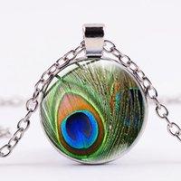 Vintage Declaração clássico colar de pena de pavão do verde Símbolo de cristal Cabochon Art Pendant colares longos Boho Jóias