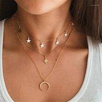 VagzzEb Vintage Çok Katmanlı Kolye Kolye Kadınlar Için Bohemian Yeni Altın Yuvarlak Kalp Ay Yıldız Gerdanlık Kolye Trendy Jewelry1