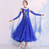 Blue ballroom dance competition dress fringe dance wear ballroom waltz dress rumba costumes dancing