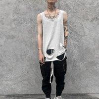 Erkek Tankı Tops Yüksek Sokak Erkekler Yaz Punk Rock Uzun Üst Delikli Hip Hop Boy Yelek Mens Harajuku Kolsuz Gömlek1