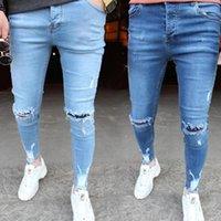 Yeni erkek Kot Jean Homme Düzenli Moda Kıymetli Delikler Sıska Pantolon 2020 Pamuk Küçük Ayaklar Erkekler Denim Kot Pontalon Homme1