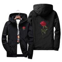 Вышивка розовый цветок ветровка куртка мужская с капюшоном бомбардировщик куртка кожа мужские куртки Jaqueta Masculina большой размер S M 7xL1