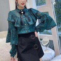 Fırfır Dantel Yeni Bahar Bluz Gömlek kadın Tops Uzun Kollu Yay Vintage Gömlek Kadın Zarif Üst Moda Gömlek 559b 201029