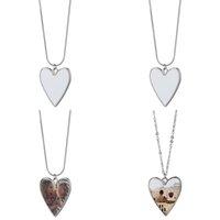 Sublimación en blanco Colgantes de metal Forma de corazón Charm Mujeres Lady Collares de acero inoxidable Cadena de San Valentín Regalos de fiesta 5 mando N2