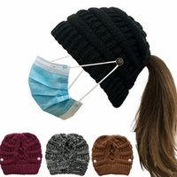 Cross Ponytail Knitted Hat with Button Mask Detachable Knitted Beanies Back Opening Woolen Yarn Warm Hat IIA761