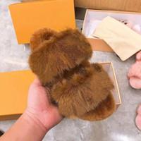 Femmes pantoufles Chaussons de coton chaudes Fashion Mode Fourrure Plat Chaussures à fourrure avec boîte taille 35-40