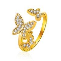 Bela Borboleta Anel Micropave Zircon Anel Index Aberto Jóias Fine Senhoras Ouro-banhado a ouro anel de dedo mindinho