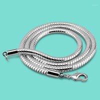 Zincirler 4mm 925 Ayar Zinciri Gümüş Yılan Kolye 20/22 Inç Katı Istakoz Toka Erkekler Takı Collana1