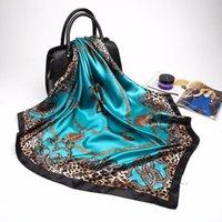 Schals Mode Leoparden-Druck für Frauen Rote Seidensatin Hijab Schal Weibliche 90cm Luxus Square Schal Stirnband Schal Damen