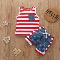 Bunvel Infant Kid Baby Boy Boy Boys Ropa Conjuntos Verano Recién Nacido Niño Ropa Ropa American Bandera Impreso 2pcs Traje de vestir1