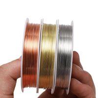 1 rouleau en métal métal fil de cuivre câble diama 0,2 0,3 0,4 0,5 0,6 0,7 0,8 1 mm de fil de perles pour bijoux JLLEKE