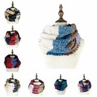 Plaid Striped Sciarpa al collo lavorato a maglia inverno donne sciarpa di cachemire caldo Circle Loop Sciarpe Spessa signora Men Bandana DDA699