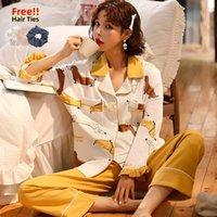 Melifle Sonbahar 100% Pamuk Pijama Kadınlar için Set Atoff Ev Saten Yumuşak Kadın Pijama Kış Sıcak Kawaii İpek Lounge Gecelikler 201113