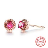 Luxury Red Ruby Stud Earrings For Women 18k Gold Inlaid Zircon Earring Colorful Gemstone Wedding Jewelry Female Earring Gift