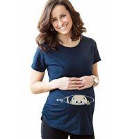 Moda Komik Annelik Elbise Sevimli Bebek Tasarım Açık Fermuar Baskı Yaz Kısa Kollu Gömlek Hamile Kadın Yenilik Giysileri 19zc L2