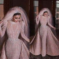 Luxus Brautkleider mit abnehmbarer Zug Arabische Dubai Perlen Pailletten High Neck Applizierte Meerjungfrau Brautkleider Custom Made Vestidos de Novia