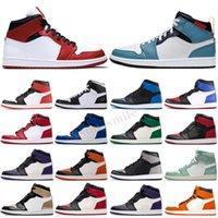 Jordan 1 AJ 1 jumpman 1 Новые дизайнерские баскетбольные туфли 1S Top ObsiDian UNC бесстрашный первый класс полет при фантомном турбо красный 1 задняя площадка спортивные кроссовки