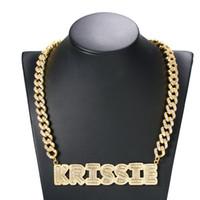 HotSale Hip Hop DIY Nombre personalizado CZ letra colgante collar con 9 mm 18 pulgadas CZ Cuba collar de cadena cubana para hombres mujeres