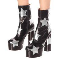 Yıldız Kadın Platformu Çizmeler Yüksek Topuk Ayak Bileği Çizmeler Sonbahar Kış Fermuar Ayakkabı Yeni Platformu Kadın Ayakkabı Bayanlar Parti Elbise Botas