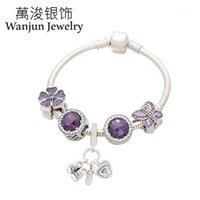 Wanjun jóias 100% 925 esterlina prata novo estilo roxo almirante pequeno bracelete de bebê conjunto-estilo diy beads charme colocação1