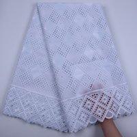 Blanco puro 100% bordado de la tela tela africana del cordón de algodón seco de alta calidad de encaje suizo de la gasa de encaje en Suiza para la fiesta Sew