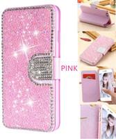 Para iPhone 12 Pro Car Wallet Funda Glitter Bling Funda de cuero con flip magnético para iPhone 12 11 Pro Max X XR XS MAX 6 7 8PLUS