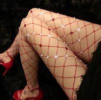 Bayan Kırmızı Fishnet Dantel Yüksek Bel Tayt Askı Külotlu Çorap Sekretik Seksi Glitter Kalp Elmas Uyluk-Yüksek Çorap Çorap