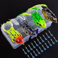4pcs / 상자 소프트 튜브 미끼 미끼 일본 플라스틱 개구리 모양 낚시 미끼 고음 고리 Topwater Ray 개구리 6G 8G 13G 인공의 Qylcex