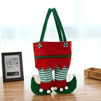 Christmas Pants Handbags New Christmas Santa Elf Spirit Pants Stocking Handbags Treat Pocket Candy Bottle Gifts Bags Present