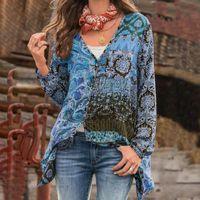 Allukasa Plus Размер 5XL Блузки Мода Женщины Богемные Рубашки V-образным вырезом С Длинным Рукавом Печать Блузка Сексуальные Свободные Рубашки Нерегулярные Топы