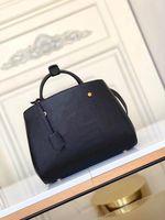 Montaigne mm حقيبة bb تنقش الجلود الأزياء النسائية الأعمال التجارية حمل حقيبة الصليب الجسم الكتف حقيبة أعلى مقبض محفظة الغبار حقيبة M41048 M42746