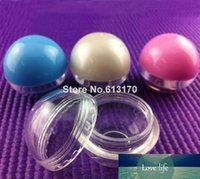 Sahneglas Nail Art Lipgloss Lidschatten Probenbehälter aus Kunststoff 5ml 5g leeren Mini Kugel Runde freien Verschiffen Ps Weiß-Form,