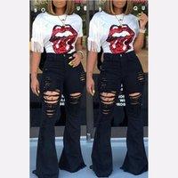 A vita alta Jeans a zampa nera femminile campana fondo jeans strappati per le donne Denim Skinny mamma gamba larga Large Size pantaloni signore